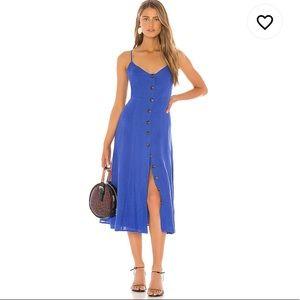 BCBGMaxAzria Button Front Linen Dress in Blueberry